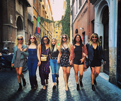 PLL actresses Ashley Benson, Shay Mitchell, Troian Bellisario, Lulu Brud Zsebe and Troian Bellisario in Italy for Troian's bachelorette party