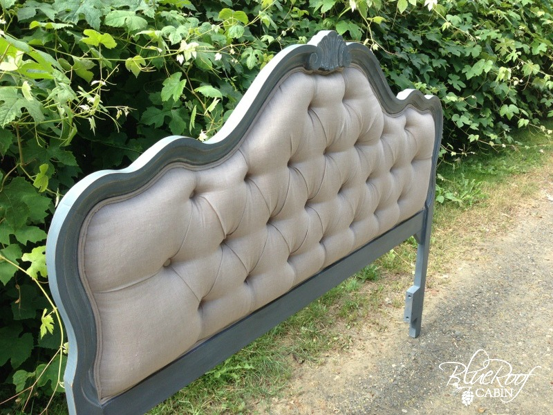 blue roof cabin  DIY Diamond Tufted Head Board Button Tufted Headboard