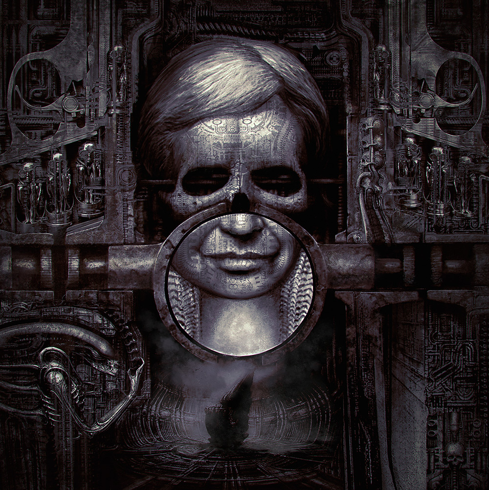 Skull portrait of H.R. Giger