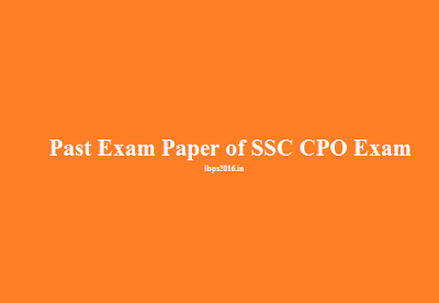 Past Exam Paper of SSC CPO