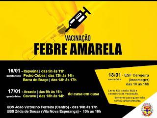 07 casos confirmados de Febre Amarela em Eldorado no Vale do Ribeira (SP)