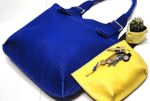 Синяя сумка через плечо Натуральная кожа без подкладки Минимализм, подарок женщине, ручная работа