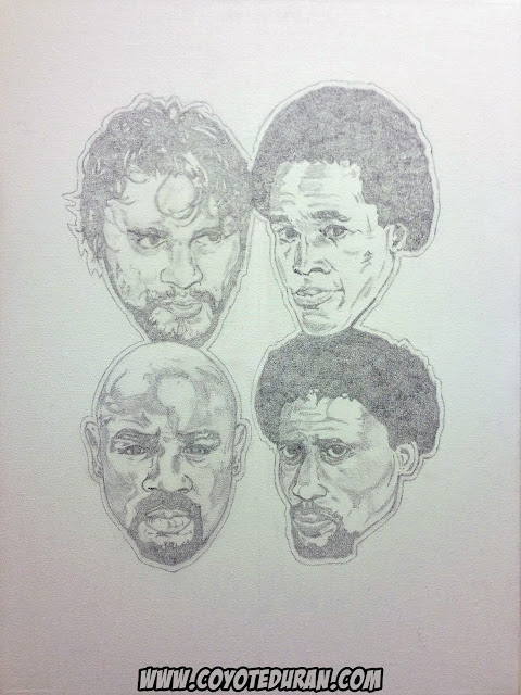 "The Four Kings of Boxing, Roberto Duran, Sugar Ray Leonard, Marvelous Marvin Hagler and Thomas Hearns, 2h graphite layout on 18"" X 24"" stretched canvas to be finished in acrylic paint. Boxing art/painting by Coyote Duran."