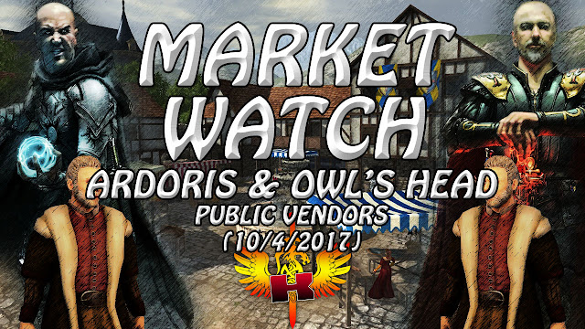 Ardoris & Owl's Head Public Vendors (10/4/2017) • Shroud of the Avatar Market Watch