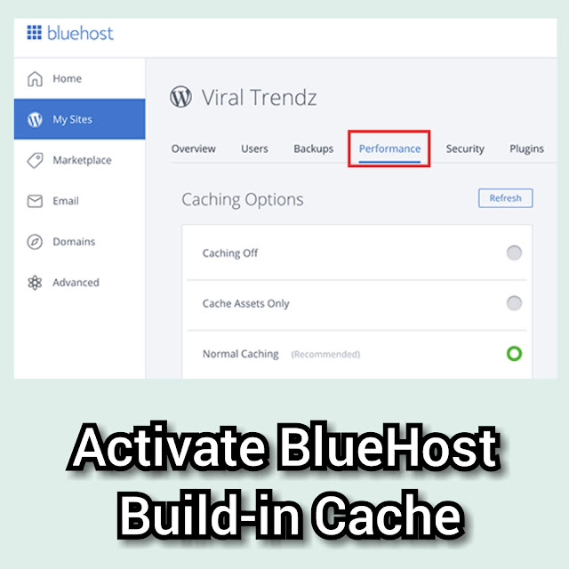 How to activate BlueHost built in cache