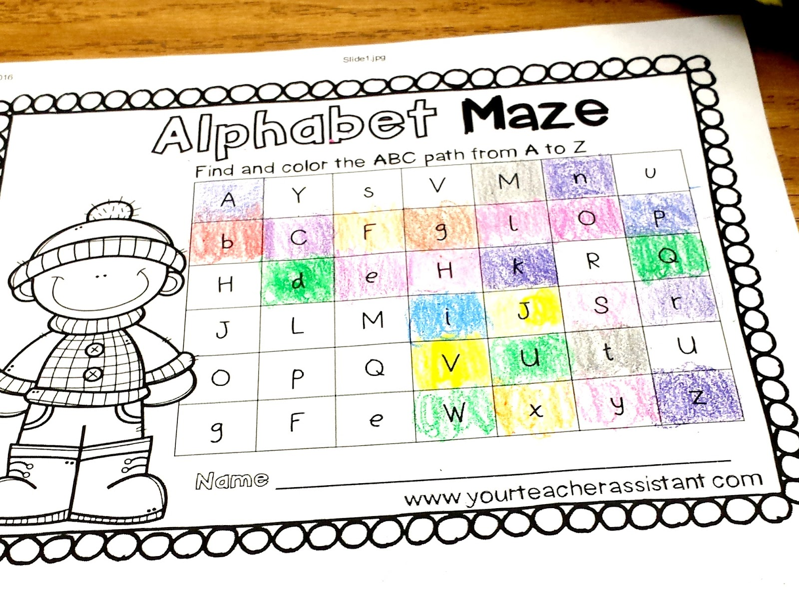 Your Teacher Assistant Alphabet Maze Freebie