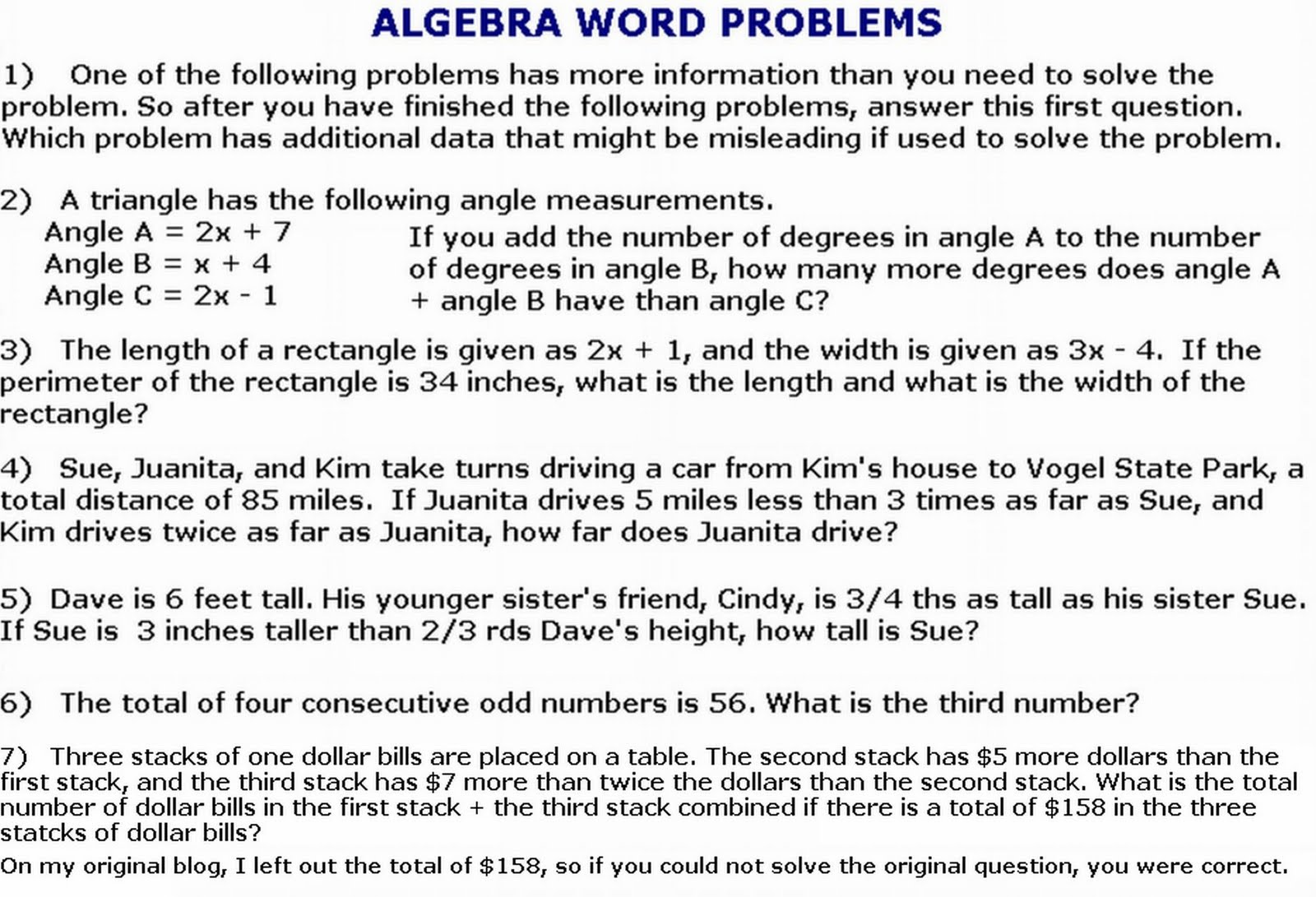 Algebraic Word Problem Worksheets