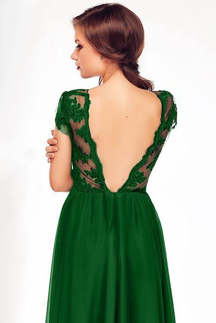 rochie erin verde spate gol