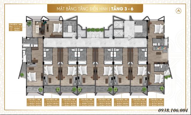 Bảng giá condotel Parami Hồ Tràm Vũng Tàu - mặt bằng tầng 3-6