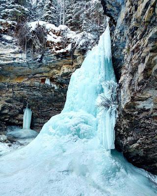 Troll Falls in winter, Kananaskis