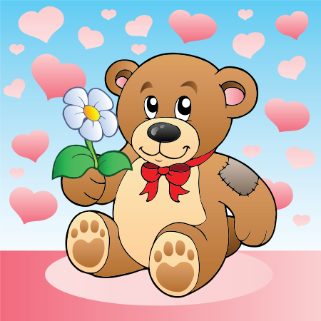 Love teddy with a flower