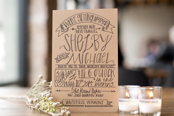Unique wedding invitation on recycled paper calligraphy