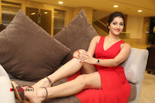 Actress Mouryani Stills in Red Dress at Intlo Deyyam Nakem Bhayam Trailer Launch  0320