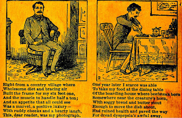 "First panel: well-fed, strong man, second panel: weak man at dinner table with ""ruined health"" and ""dread dyspepsia"""