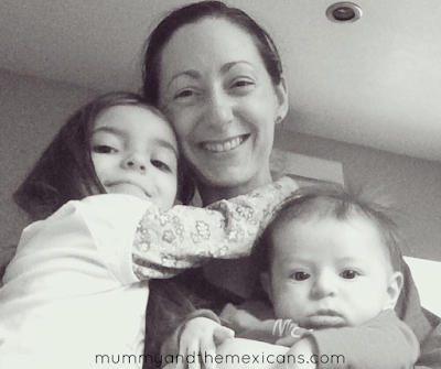 Life With Baby At 4 Months Old - Image Shows Black And White Picture Of Mum With Baby And Older Daughter