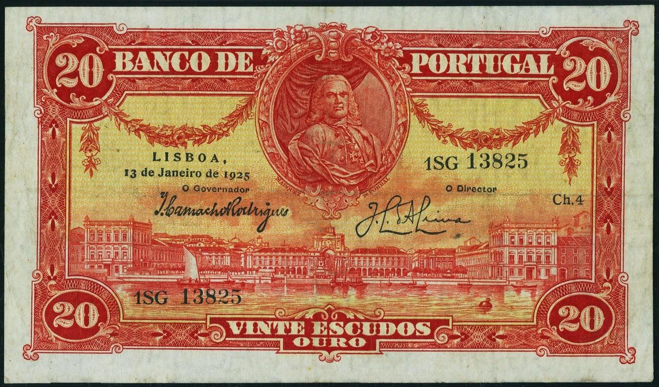 Portugal banknotes 20 Escudos bank note 1925 Marquis of Pombal, Praça do Comercio - Commerce Square Lisbon