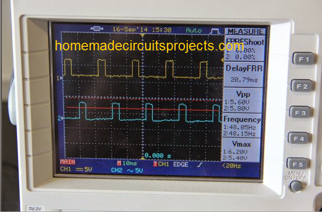 oscilloscope trace for a modified waveform