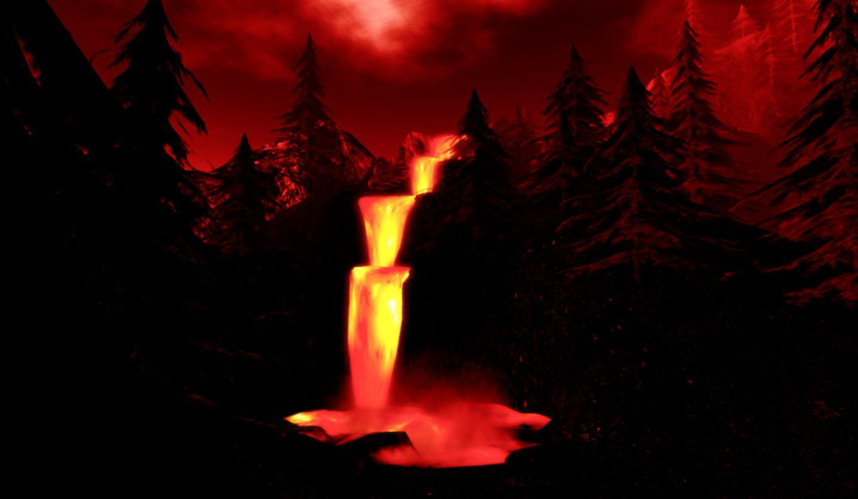 Cachoeira de lava na paisagem noturna: ilustra a seção a respeito dos textos das linhas de ''Pi / Graciosidade (Beleza)'', um dos 64 hexagramas do I Ching, o Livro das Mutações