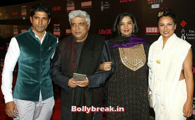 Farhan, Javed and Adhuna Akhtar with Shabana Azmi, Life Ok Screen Awards 2014 Red Carpet Photos