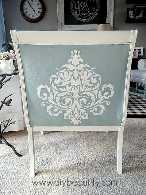 Painting Upholstery stencil on vintage chair www.diybeautify.com