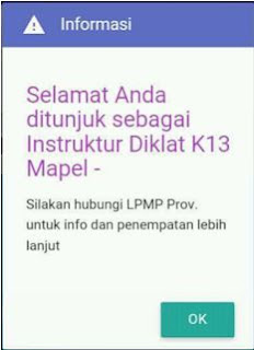 Penjelasan Akun SIM PKB muncul Pemberitahua sebagai Instruktur Diklat K13
