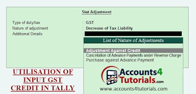 utilization of input tax credit adjustment entry in tally