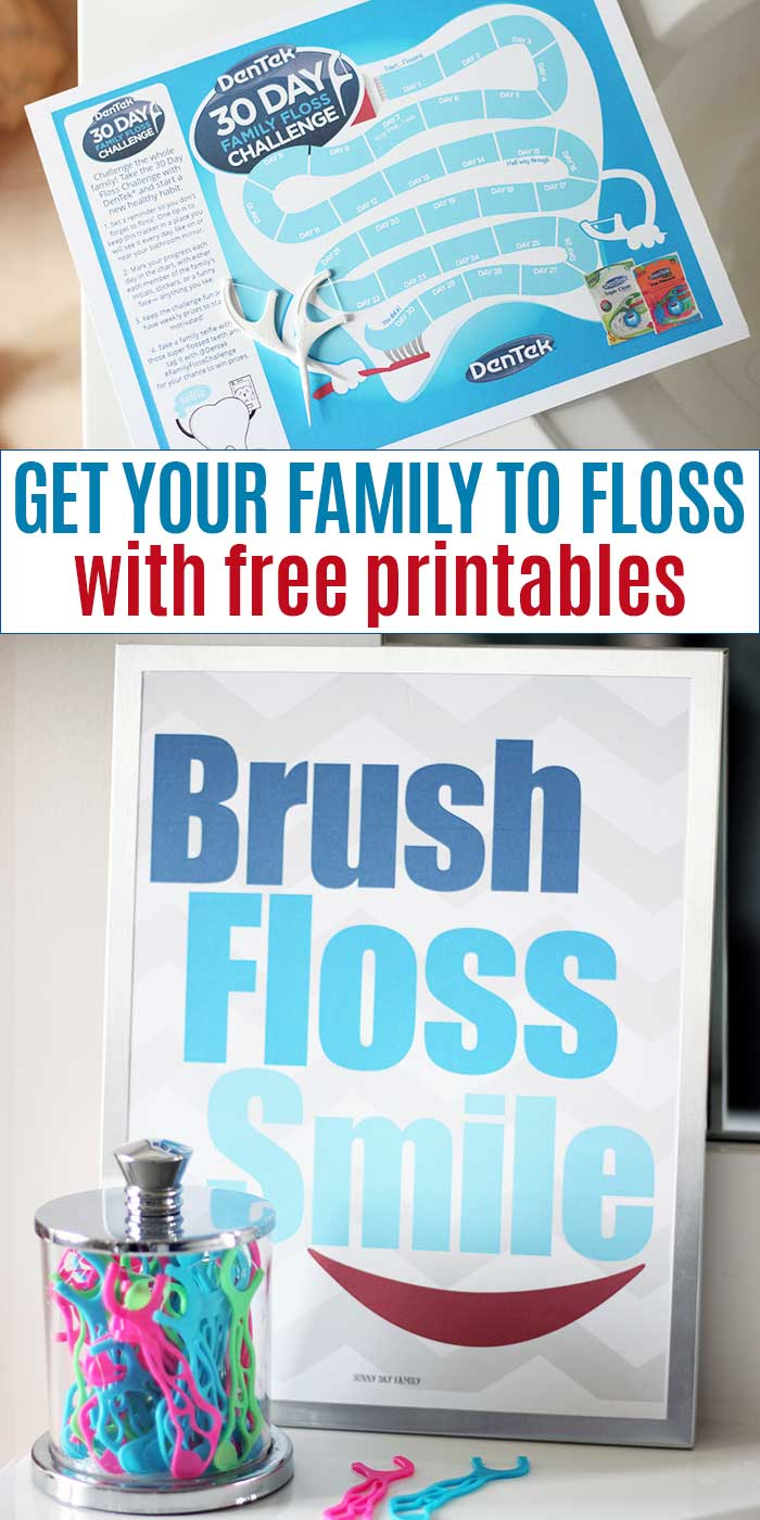 Encourage your family to floss with a fun challenge and free printables! #ad #FamilyFlossChallenge #kidsbathroom #printables