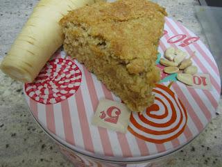 Gâteau de panais,part, poudre de cacahuètes, légumes oubliés, cuisinons de saison