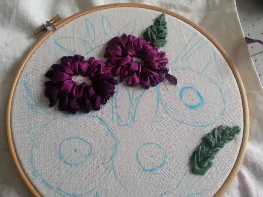 Ribbon embroidery. Herbers bouquet