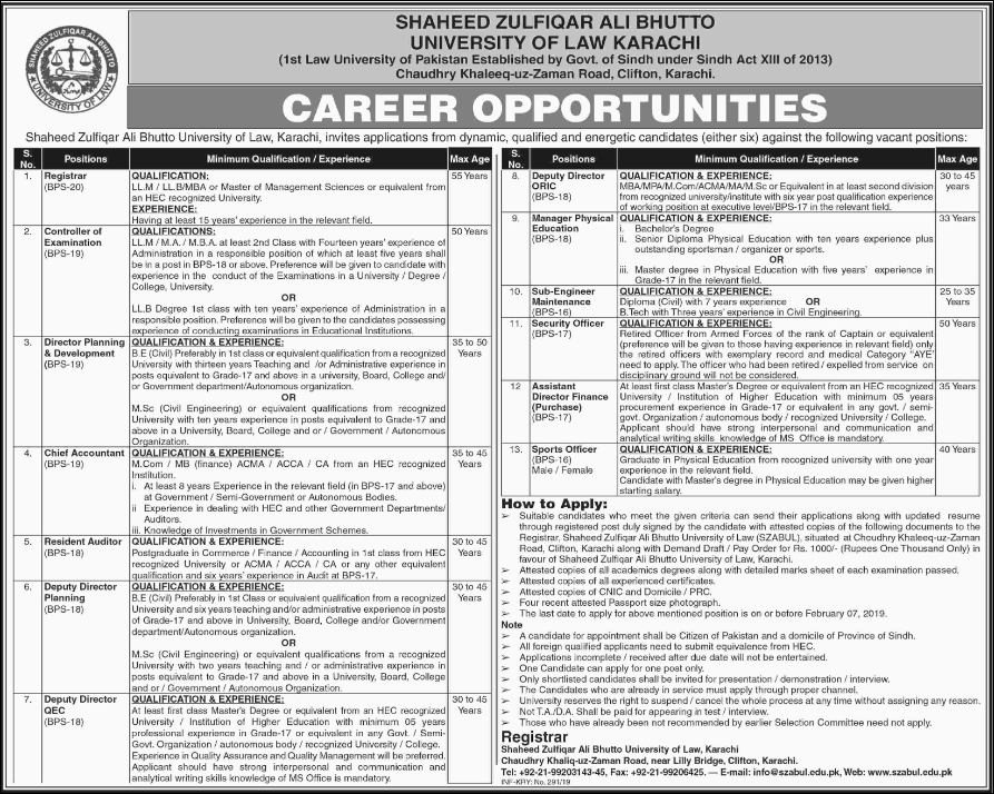 Advertisement for the University of Law Karachi Jobs