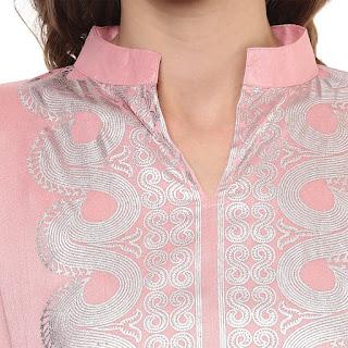 Ziyaa Pink Poly Silk Kurti