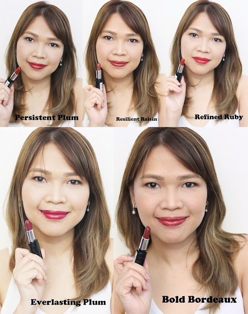 a photo of L'Oreal Infallible 10H LongWear Lipstick Resilient Raisin, Refined Ruby, Persistent Plum Bold Bordeax and Everlasting Plum Review