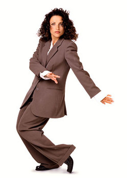 menswear-inspired pants for a look worthy of Elaine Benes