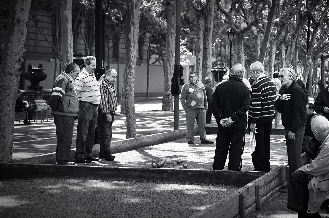 Old men playing La Petanca, Passeig de Lluis Companys, Barcelona