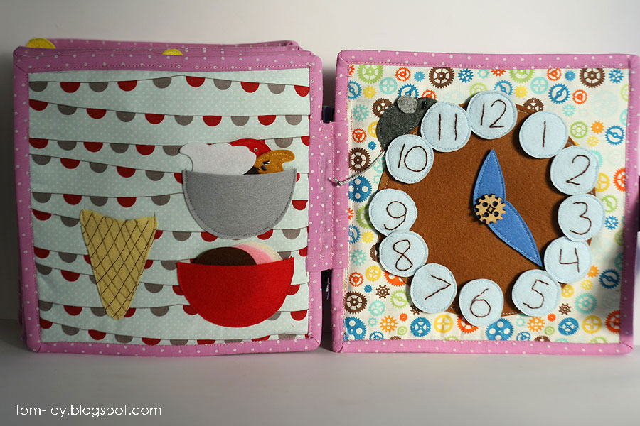 Quiet book for Caitlyn, busy book, gift for children, icecream cone, clock, развивающая книжка, мороженое, часы