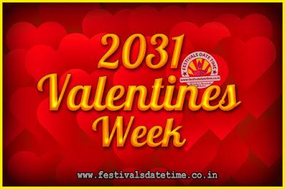 2031 Valentine Week List : 2031 Valentine Week Schedule, Hug Day, Kiss Day, Valentine's Day 2031