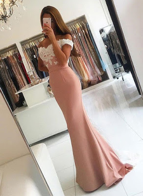 Latest Off-the-shoulder Trumpet/Mermaid Tulle Silk-like Satin Appliques Lace Sweep Train Backless Prom Dresses