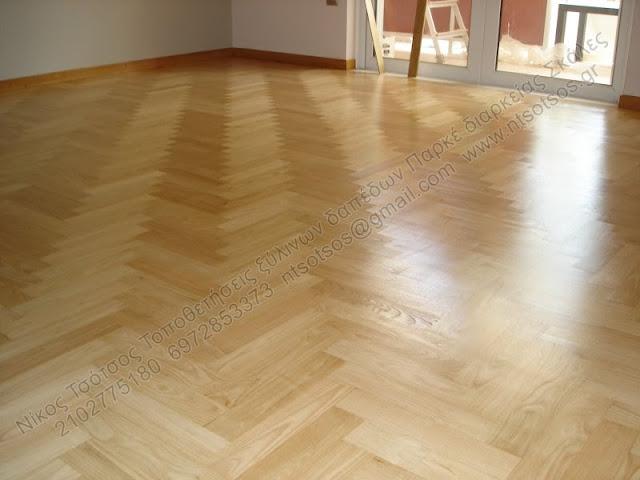 Συντήρηση ξύλινου πάτωματος  καστανιάς με σατινέ βερνίκι