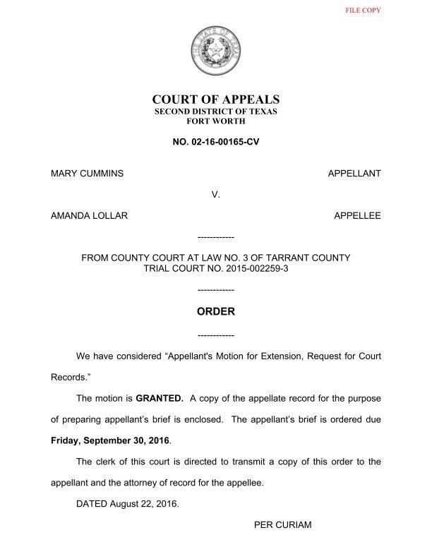 Mary Cummins, Amanda Lollar Texas lawsuit 2015-00259-3 - Judge Mike