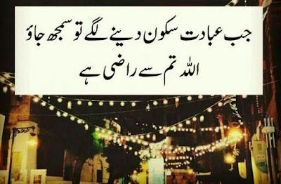 Best Aqwal-e-Zareen of Life in Urdu images - Jub ibadat sakoon dene lagey tu samjh jao ALLAH tum se razi hai