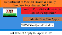 Department of Medical, Health & Family Welfare Recruitment 2017–Data Manager, Data Entry Operator