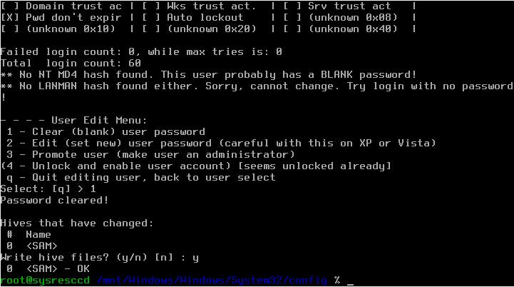 On Ubuntu: Reset your Windows password with SystemRescueCD