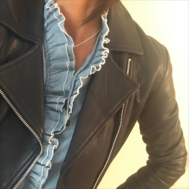 My Midlife Fashion, massimo dutti leather biker jacket, isabel marant etoile frill chambray blouse, j crew cropped kick flare trousers, iris and ink leather shoulder bag, golden goose superstar leopard print trainers