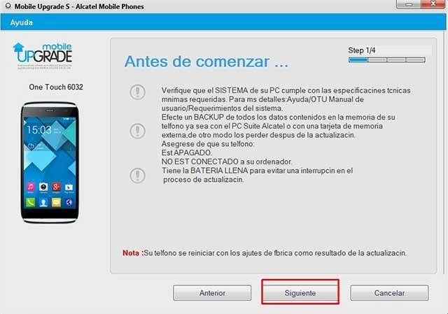 Actualizaciones de software: ALCATEL ONETOUCH