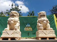 Patung singa samsi dari batu alam paras jogja, batu putih