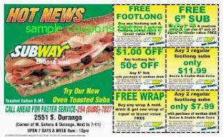 free Subway coupons february 2017