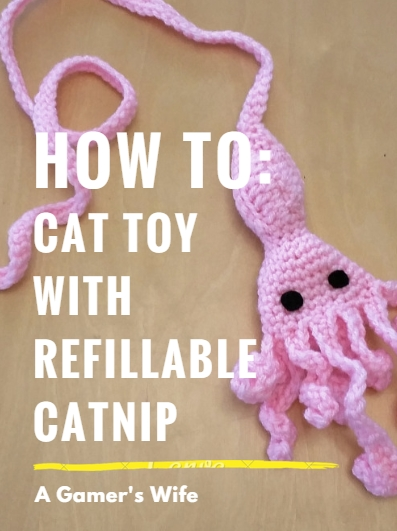 A Gamers Wife Pattern Squid Cat Toy With Refillable Catnip Pocket