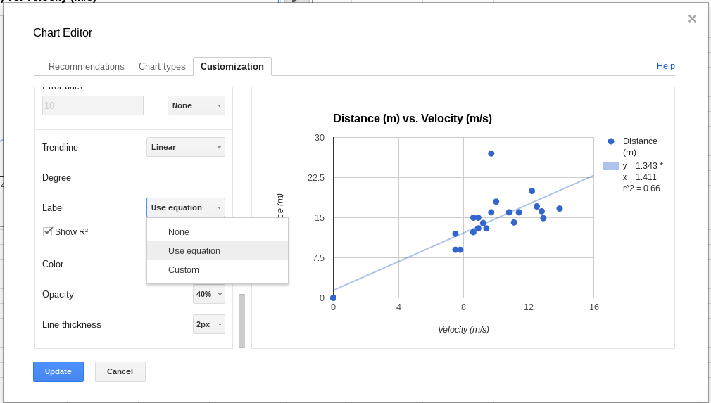 Google sheets xy scatter graph charts gains ability to display google sheets xy scatter graph charts gains ability to display linear regression equation on chart ccuart