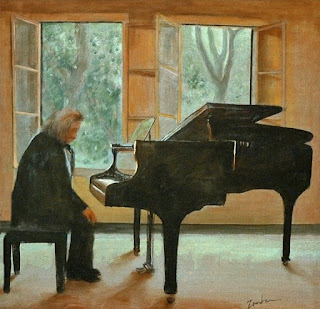 acrylic painting on canvas of old man deep in thought sitting at the piano by George Zantua