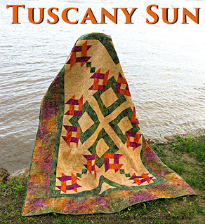 Quilt made with the Tuscany Sun collection from Island Batik